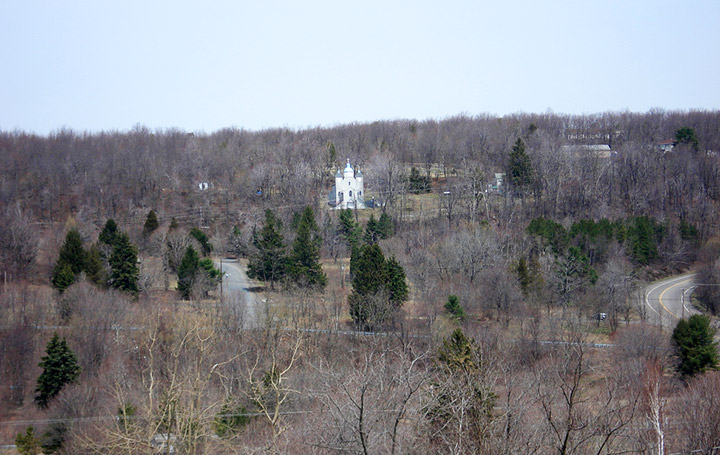 Assumption of the Blessed Virgin Mary Church from opposite hill in Centralia. Credit: Flickr/fireballsedai
