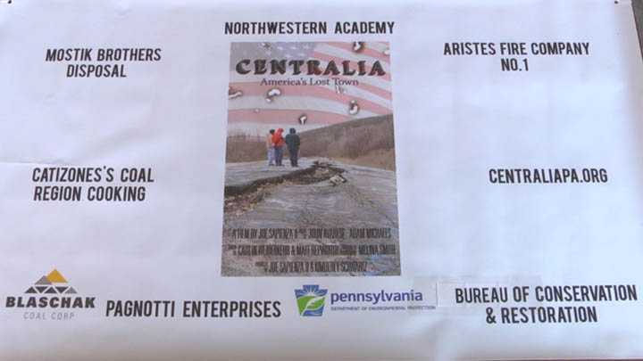 A number groups came together to help with the cleanup day in Centralia. They were listed on this banner.
