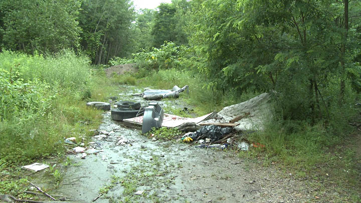 Trash could be found all around Centralia Pennsylvania before the cleanup effort.