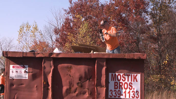 Mostik Brothers trash hauling provided two large dumpsters for the cleanup effort.