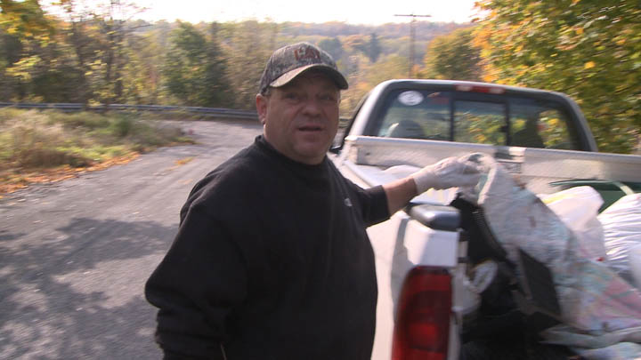 Centralia PA's fire chief, Tom Hynoski, was on hand to help with the cleanup effort.