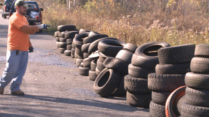 Nearly 200 old tires were found in wooded areas around Centralia Pennsylvania.