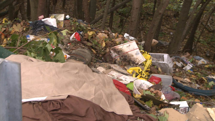 Piles of trash were found on this hillside and throughout the town.